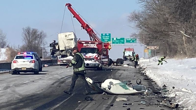 The crash involved two semi-tractor trailers, police say.