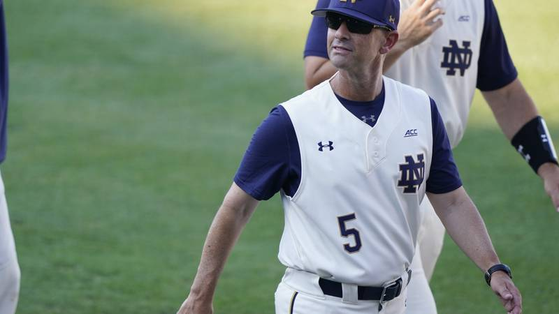 Notre Dame baseball coach Link Jarrett looks into the stands at Dudy Noble Field prior to an...