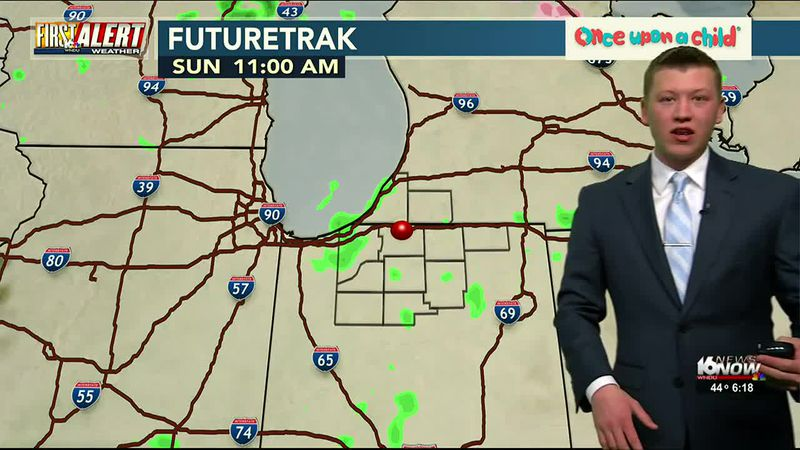 : Scattered showers will move in late Saturday with some showers lasting through early Sunday...