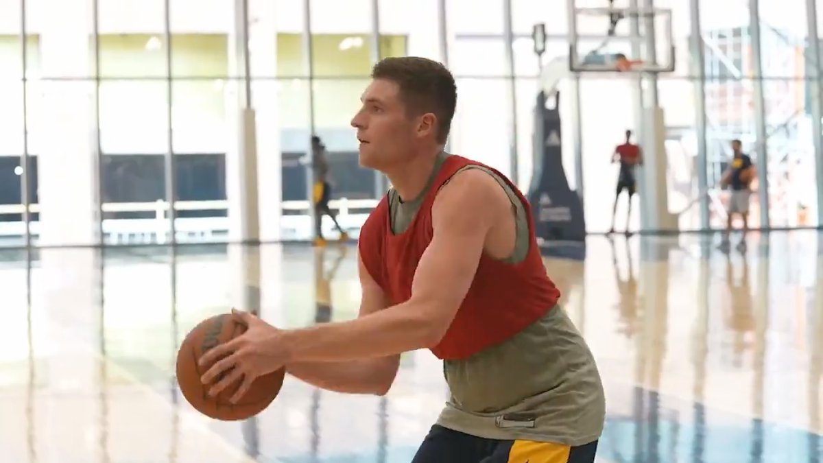 Warsaw High School graduate Kyle Mangas works out for the Indiana Pacers on July 7, 2021.