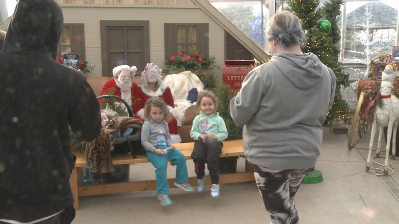 Santa and Mrs. Claus visit Linton's Enchanted Gardens in Elkhart.