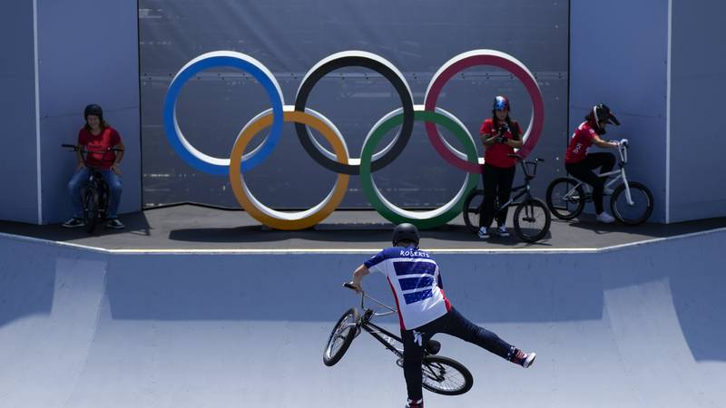 Hannah Roberts of the United States makes a jump during a BMX Freestyle training session at the...