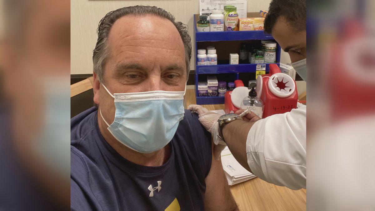 Mike Brey posts picture while receiving second shot of the Moderna vaccine.