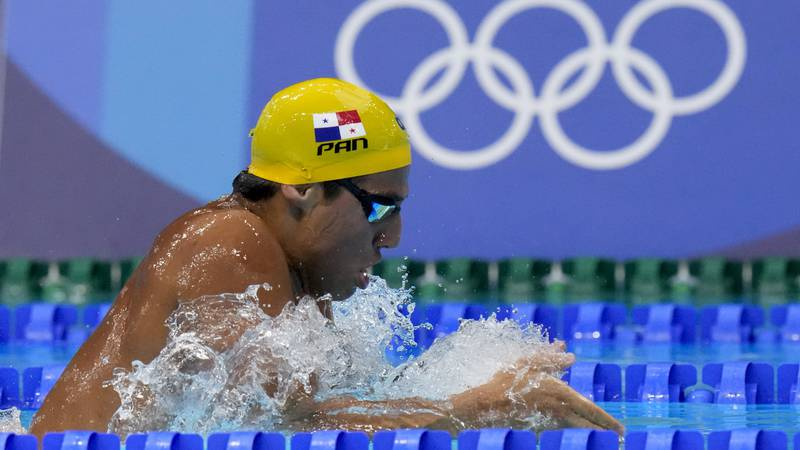Bernhard Tyler Christianson, of Panama, swims in a heat of the men's 200-meter breaststroke at...