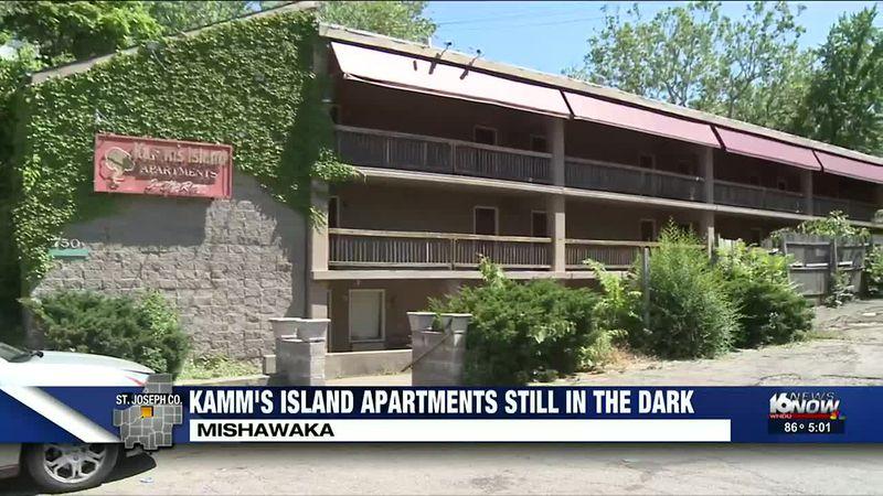 Kamm's Island Apartments still in the dark