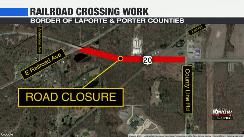 Railroad crossing at U.S. 20 closed for work