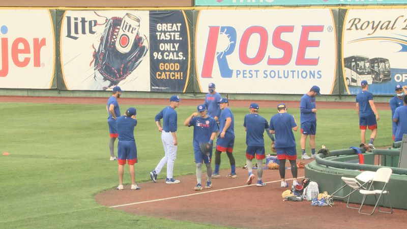 The South Bend Cubs warm up during practice on May 3, 2021.