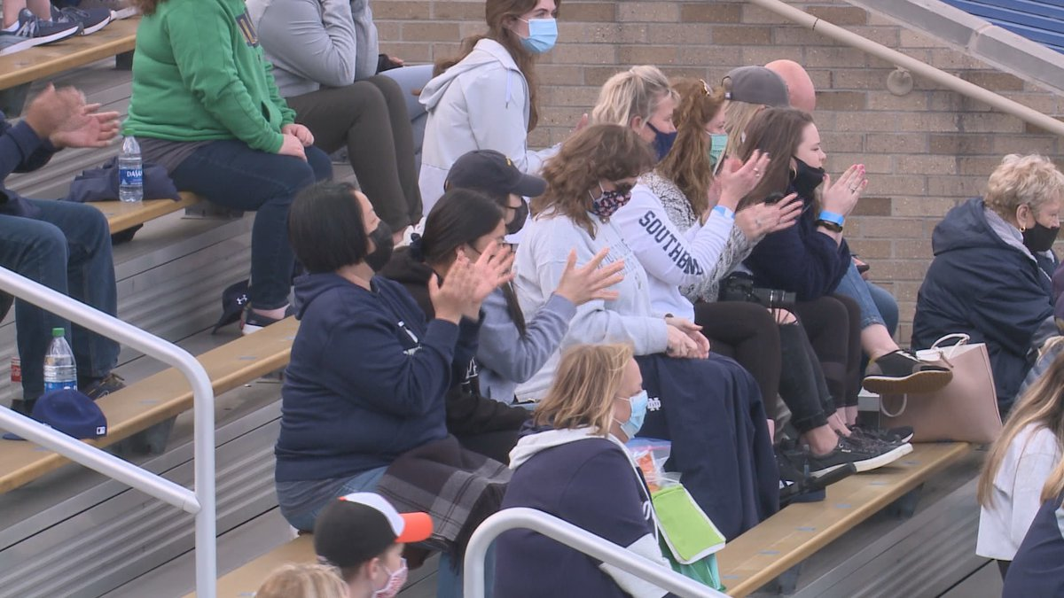 Notre Dame fans sit with masks on during a baseball game at Frank Eck Stadium in 2021.