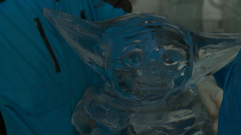 """A """"Baby Yoda"""" ice sculpture for the 17th annual Hunter Ice Festival."""