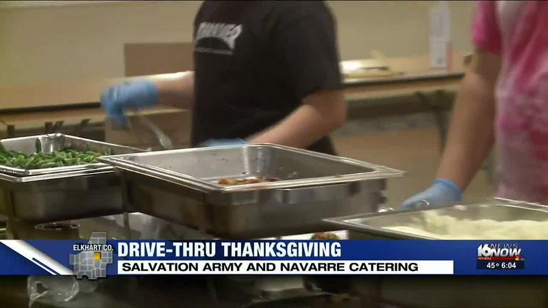 A Thanksgiving drive-thru served more than 1000 people in Elkhart today.