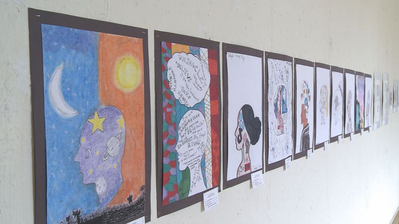 The non-competitive exhibit displays the artwork of over 50 South Bend students from grades 5-8.