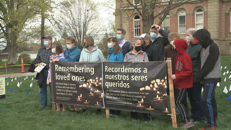 Members of Faith Mennonite Church in Goshen organize public COVID-19 memorial outside Elkhart...