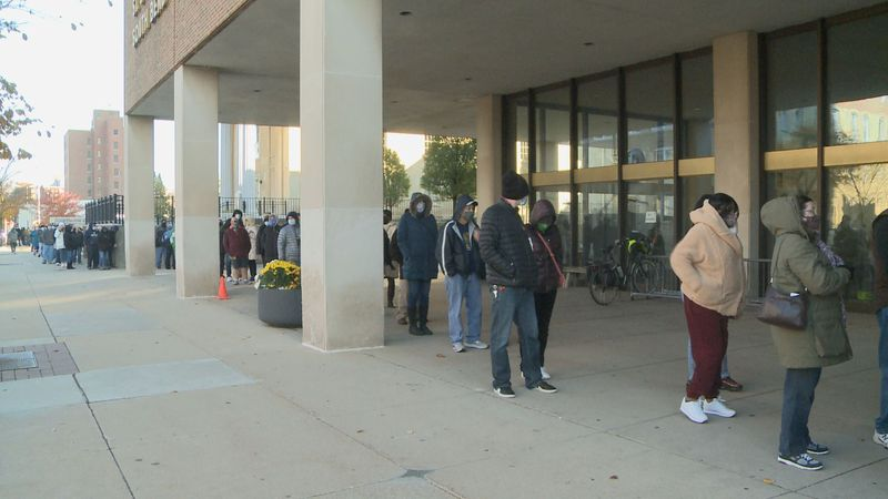 The line at the St Joseph County-City Building was long once again Saturday for early voting.