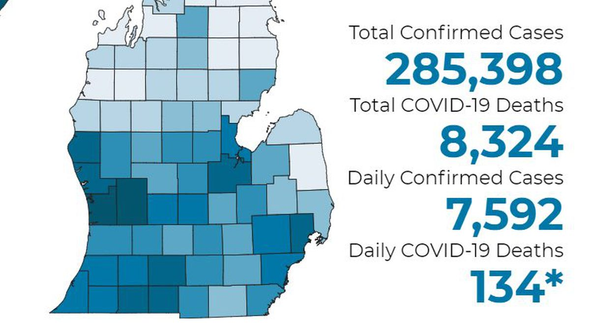 There have been 8,324 deaths and 285,398 confirmed cases throughout the state.