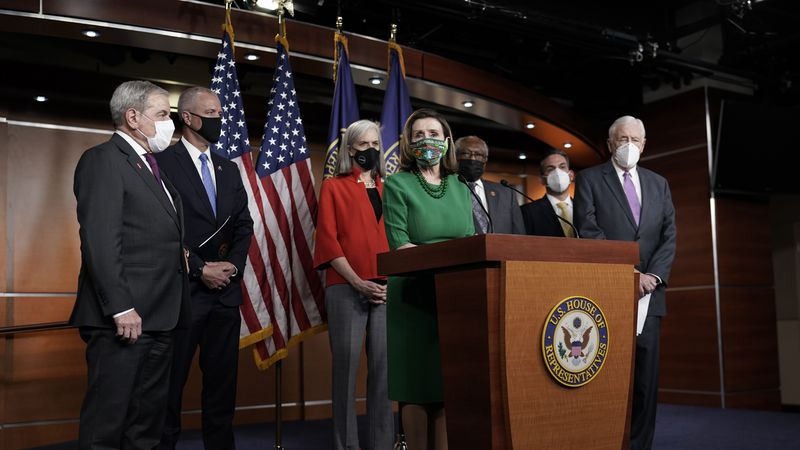 Speaker of the House Nancy Pelosi, D-Calif., meets with reporters before the House votes to...