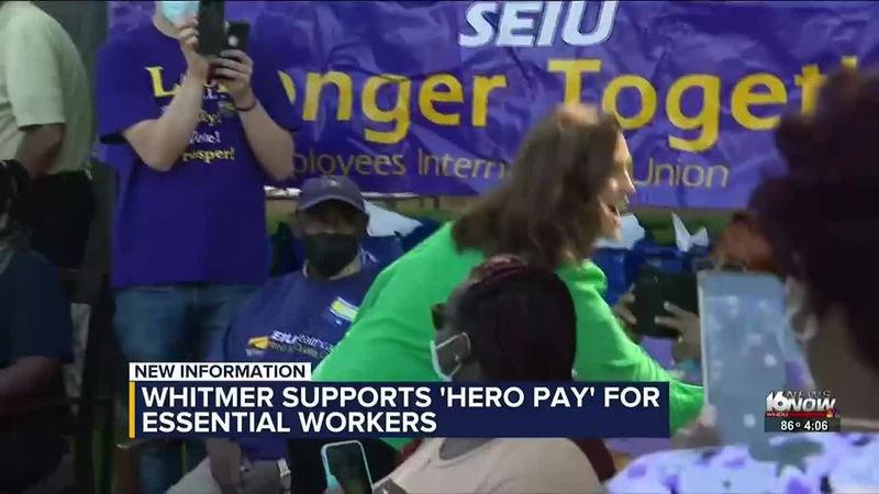 Gov. Whitmer supports 'hero pay' for essential workers