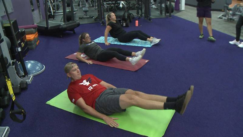 The workouts focus on arm strength for swimming, leg strength for running and ab strength for...
