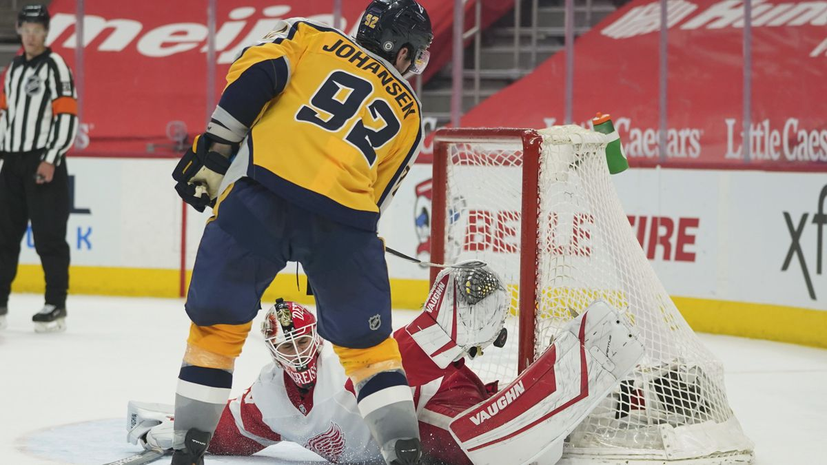 Nashville Predators center Ryan Johansen (92) scores a shootout goal against Detroit Red Wings...