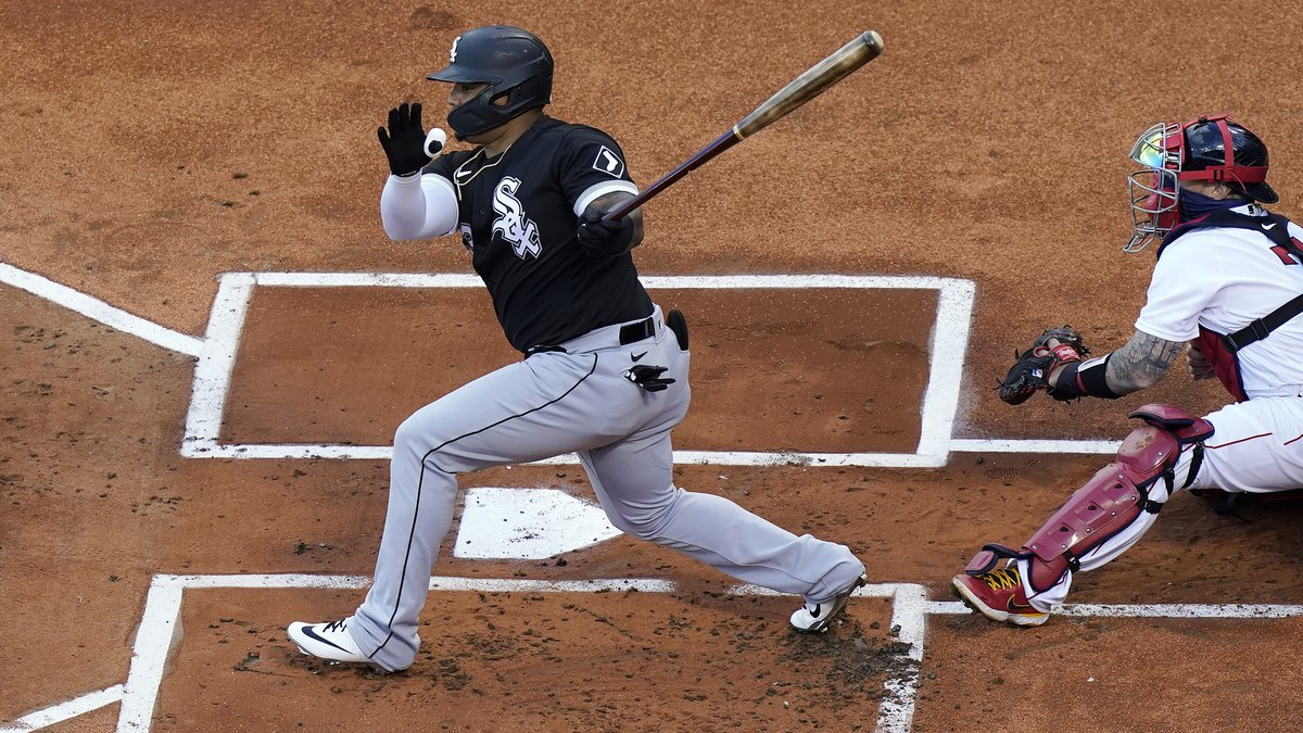 FILE - In this April 18, 2021, file photo, Chicago White Sox's Yermin Mercedes swings at a...