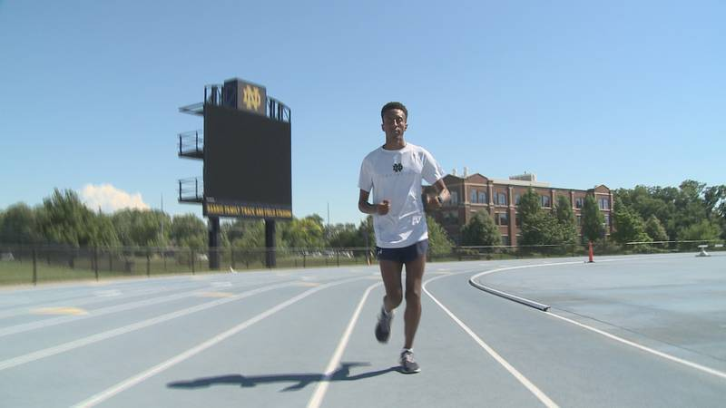 Irish track star Yared Nuguse trains at Notre Dame ahead of the 2020 Olympics.
