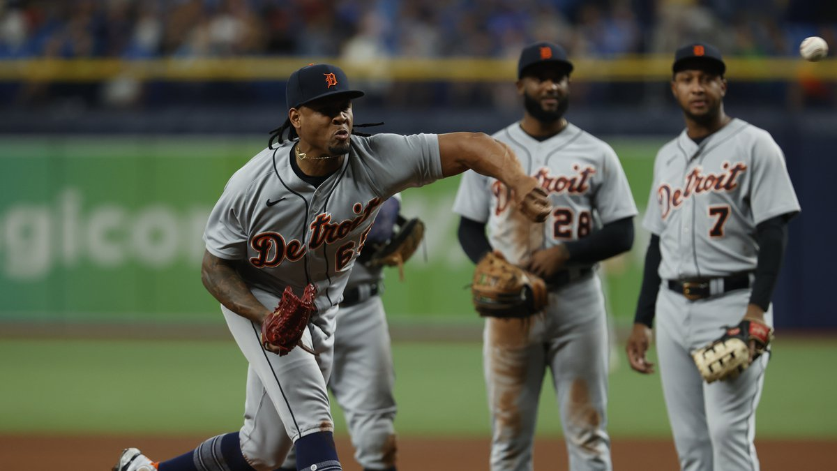 Detroit Tigers pitcher Gregory Soto throws a test pitch after getting hit by the ball during...