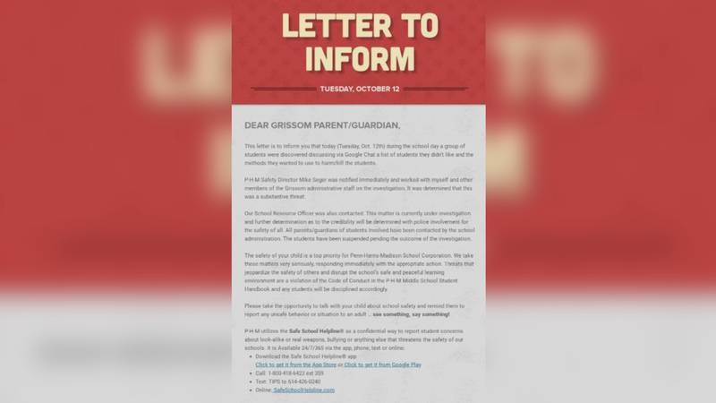 Principal Jean Milfort issued this letter to Grissom Middle School parents the same day they...