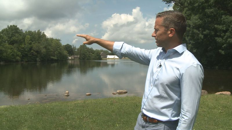 Head of La Lumiere School, Adam Kronk, points to one of the locations where an outdoor class...