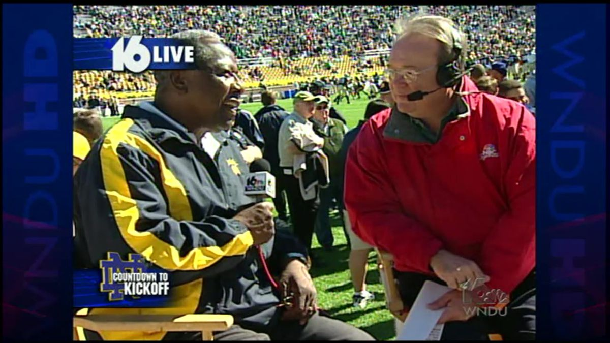Baseball legend Hank Aaron was at Notre Dame Stadium for the Purdue game in 2004, and he was...