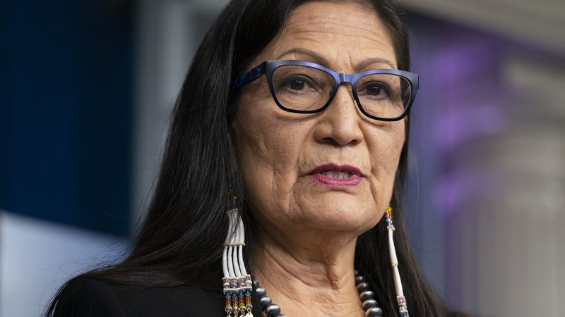 In this April 23, 2021, file photo, Interior Secretary Deb Haaland speaks during a news...