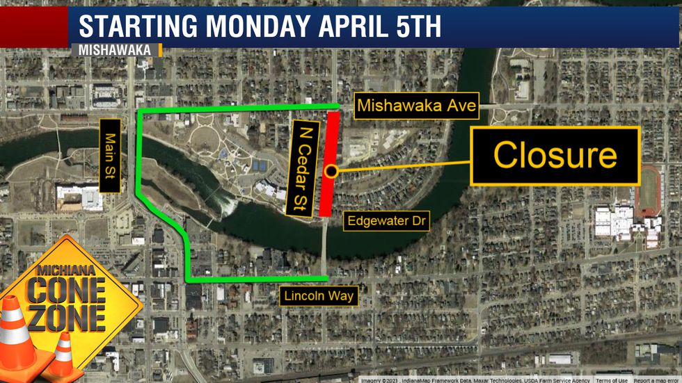 City of Mishawaka closes N. Cedar St. between Mishawaka Ave. and Edgewater Dr. for utility and...