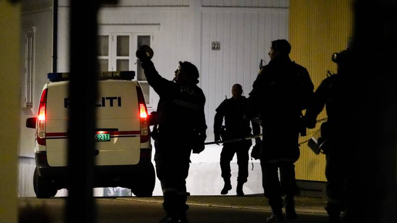 FILE - This photo shows police at the scene after a deadly bow-and-arrow attack in Kongsberg,...