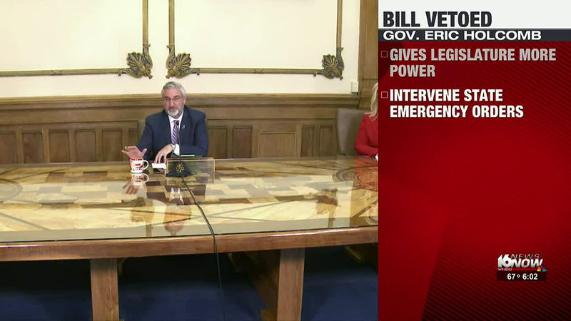 Holcomb vetoes bill limiting power during emergencies