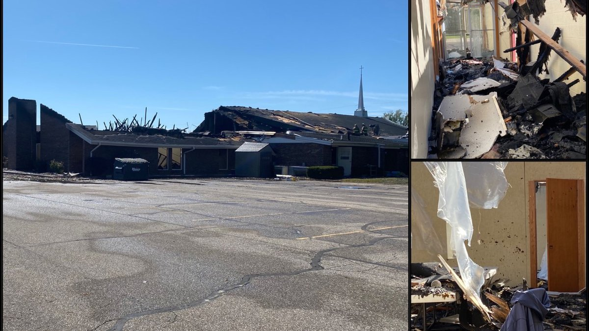 Fire this morning at First Church of God in Nappanee