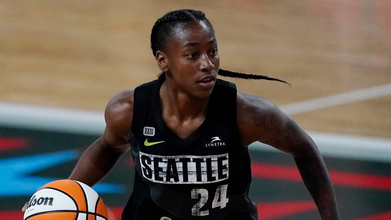 Seattle Storm guard Jewell Loyd (24) works against the Atlanta Dream during the first half of...