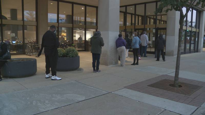 Voters lined up outside of the County-City Building in South Bend early Tuesday, waiting to...