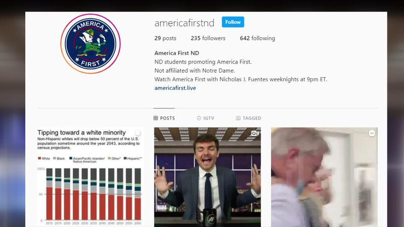 This is the group in question, America First Notre Dame, this is their Instagram page.