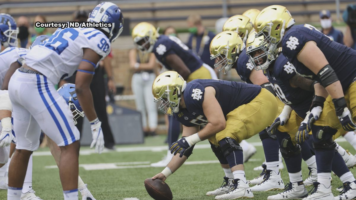 Notre Dame offensive lineman Liam Eichenberg is not satisfied with the play in the trenches.