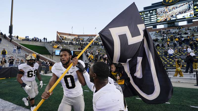Purdue wide receiver Milton Wright (0) celebrates after an NCAA college football game against...