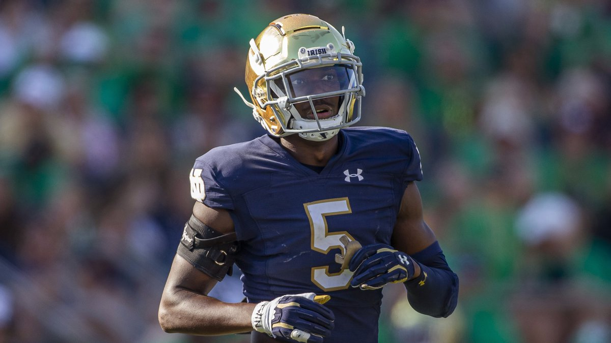 Notre Dame defensive back Cam Hart (5) during an NCAA football game against Purdue on Saturday,...