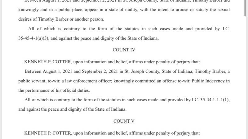Charges and probable cause affidavit for Timothy Barber, South Bend policeman accused of...