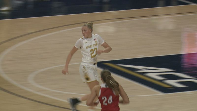 Irish freshman Ali Campbell runs down the court after making a shot against Miami of Ohio.