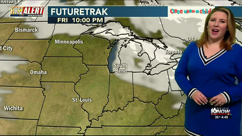 Light snow showers possible with narrow bands of lake-effect setting up Friday morning.