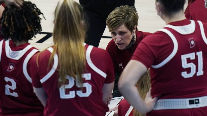Indiana head coach Teri Moren talks to her players during the second half of a college...