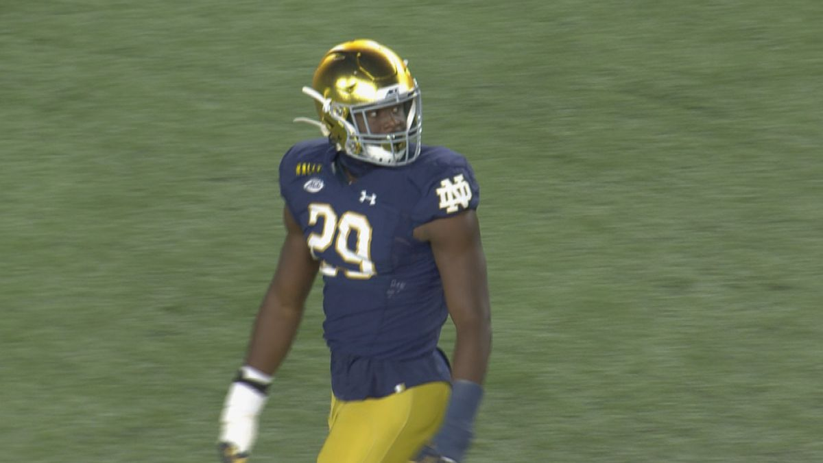 Oghoufo recorded three tackles and one sack for the Irish in 2020.