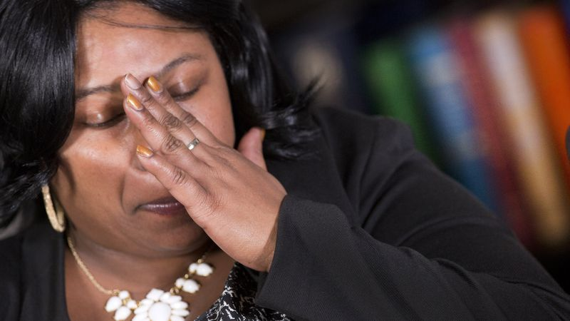 FILE - In this Dec, 15, 2014 file photo, Samaria Rice, of Cleveland, Ohio, mother of Tamir...