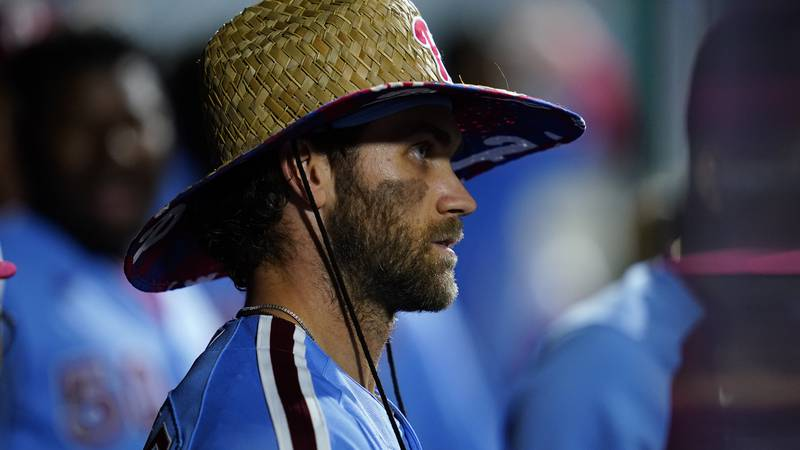 Philadelphia Phillies' Bryce Harper plays during a baseball game against the Chicago Cubs,...