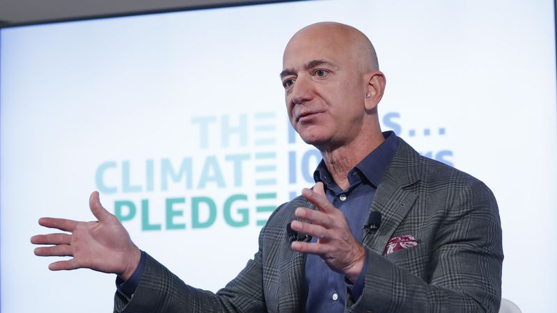 This Sept. 19, 2019 photo shows Amazon CEO Jeff Bezos arriving to a news conference at the...