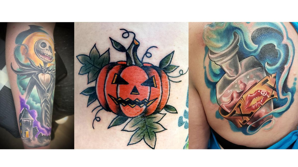 Left: Tattoo by Rich Gallery<br />Middle: Stacy Zehringer's Halloween tattoo<br />Right:...