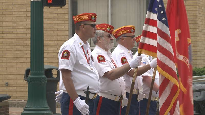 People filled the sidewalks to watch the Elkhart Memorial Day parade.