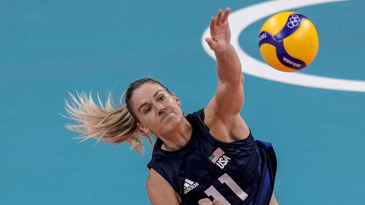 United States' Andrea Drews during the women's volleyball semifinal match between Serbia and...
